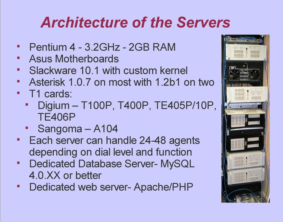 2b1 on two T1 cards: Digium T100P, T400P, TE405P/10P, TE406P Sangoma A104 Each server can