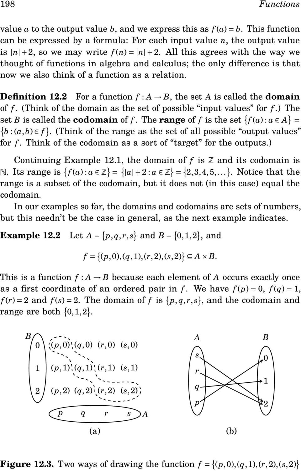 ll this agrees with the way we thought of functions in algebra and calculus; the only difference is that now we also think of a function as a relation. Definition 12.