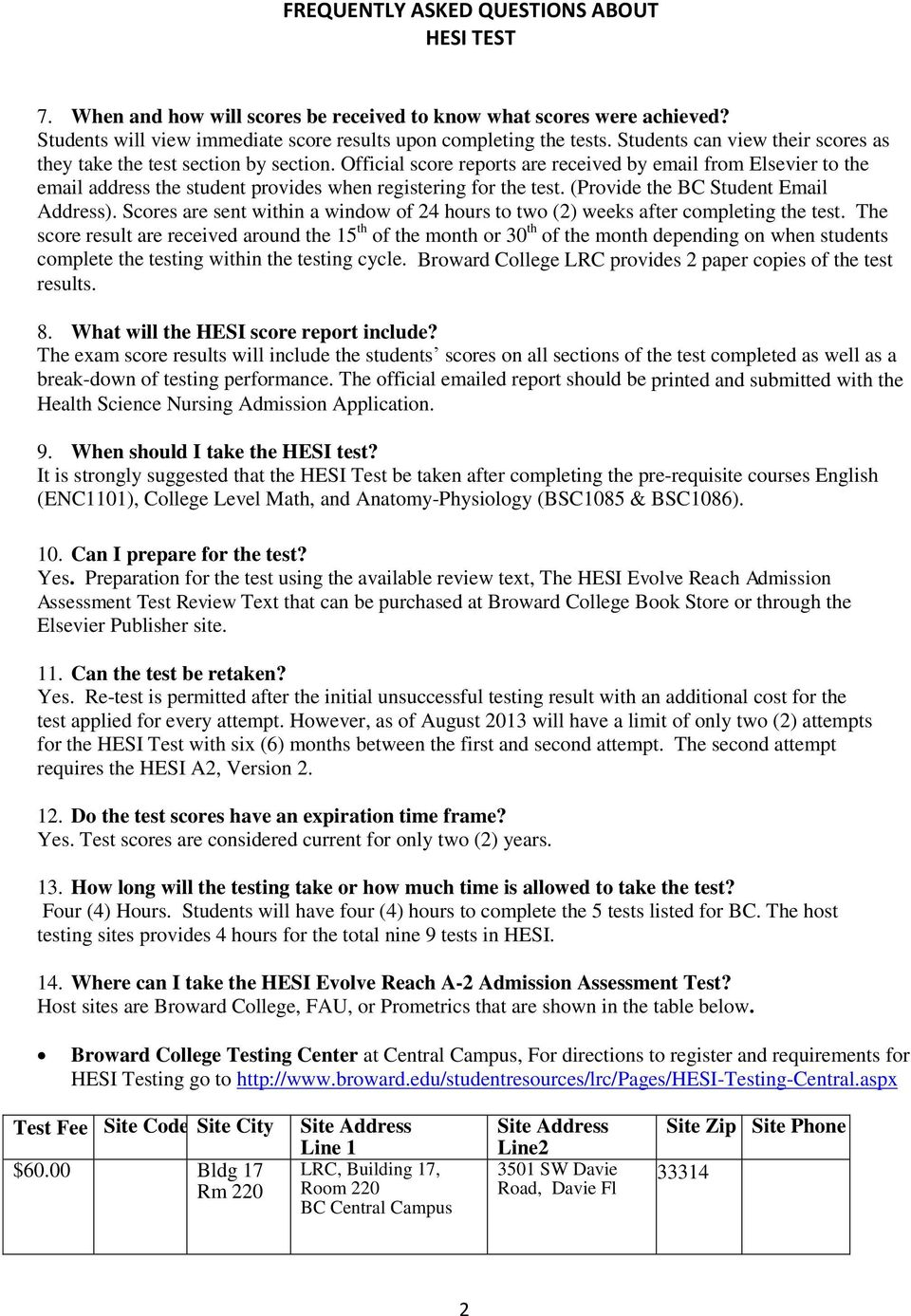 FREQUENTLY ASKED QUESTIONS ABOUT HESI TEST - PDF