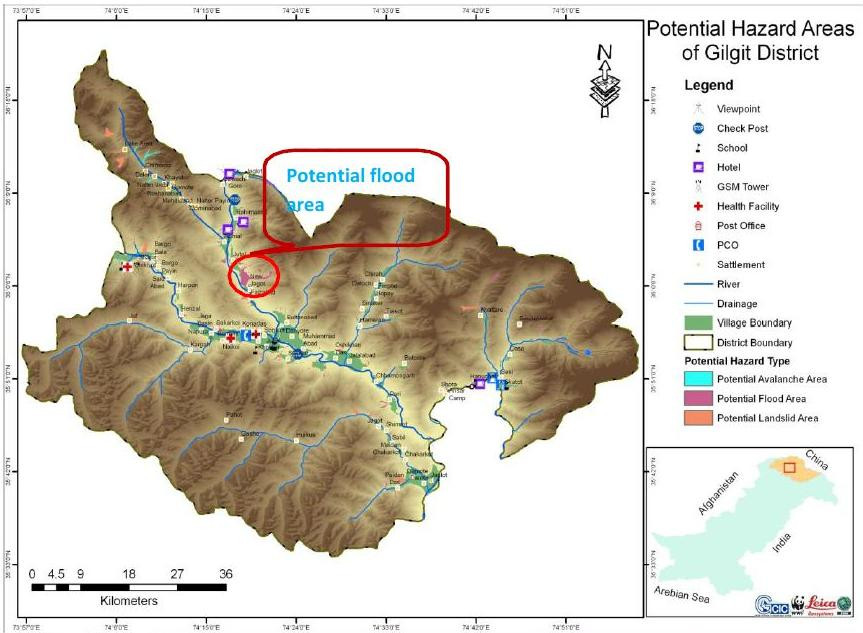Page 30 Figure 11: Map showing potential hazard area of Gilgit District Source: