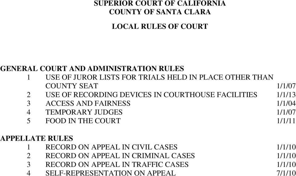 FAIRNESS 1/1/04 4 TEMPORARY JUDGES 1/1/07 5 FOOD IN THE COURT 1/1/11 APPELLATE RULES 1 RECORD ON APPEAL IN CIVIL CASES