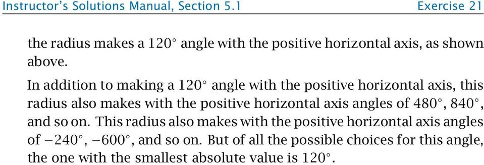 In addition to making a 120 angle with the positive horizontal axis, this radius also makes with the positive