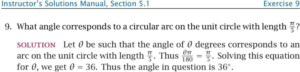 Let θ be such that the angle of θ degrees corresponds to an arc on the unit