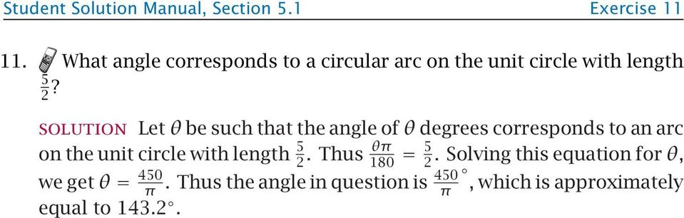Let θ be such that the angle of θ degrees corresponds to an arc on the unit circle with