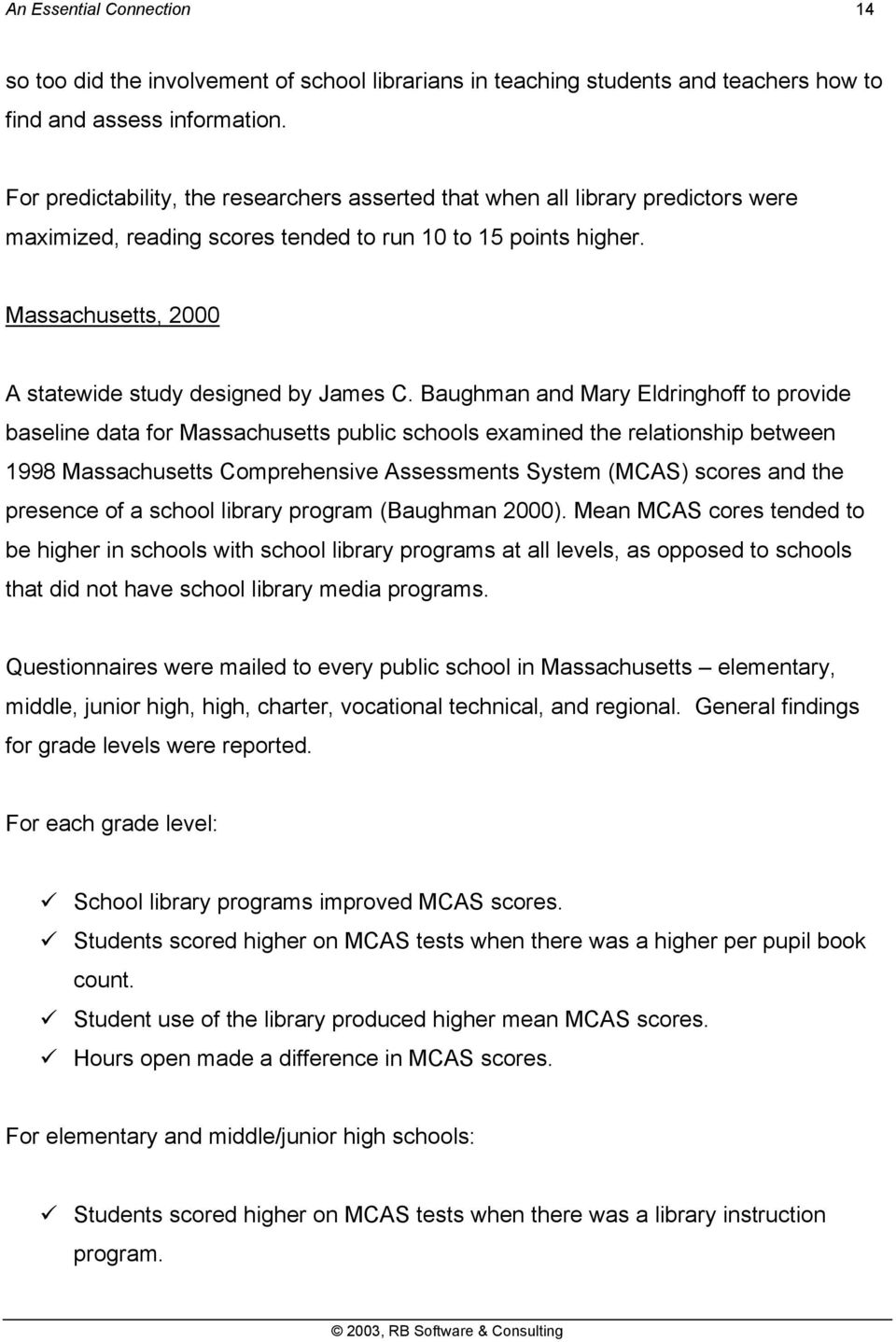 Massachusetts, 2000 A statewide study designed by James C.