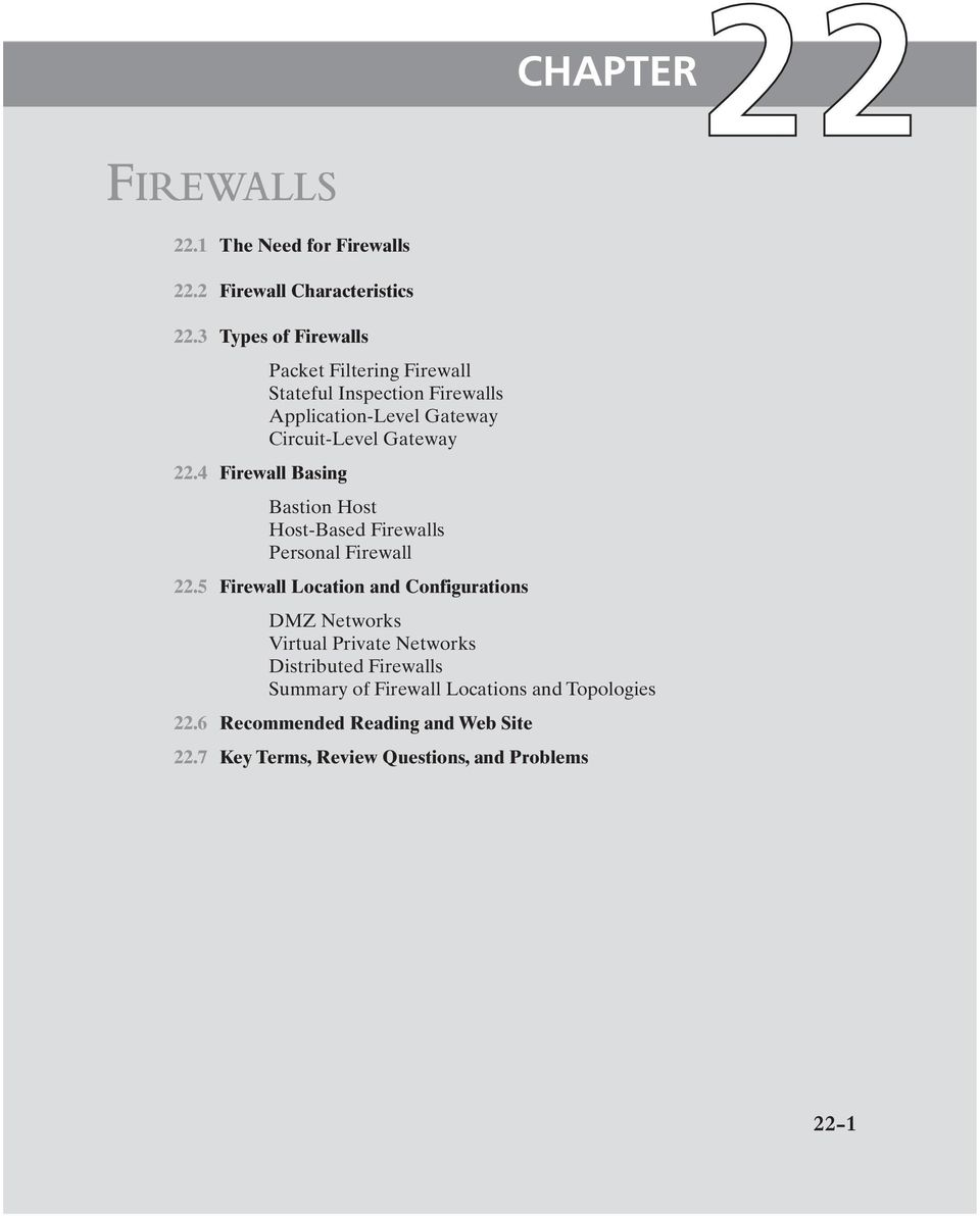 Bastion Host Host-Based Firewalls Personal Firewall 22.