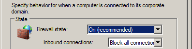 12. Configure the inbound firewall to block all connections by doing the following: a.