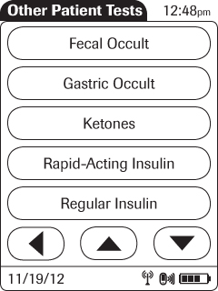 Supplement for Other Test Entry 5 Enter or select the Patient ID (see Chapter 3 for more information). Touch to proceed to the next screen. 6 Use the keypad to enter the date the test was performed.