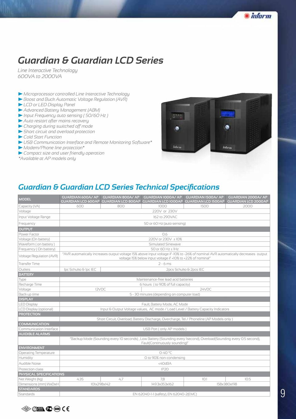 overload protection Cold Start Function USB Communication Interface and Remote Monitoring Software* Modem/Phone line protection* Compact size and user friendly operation *Available at AP models only