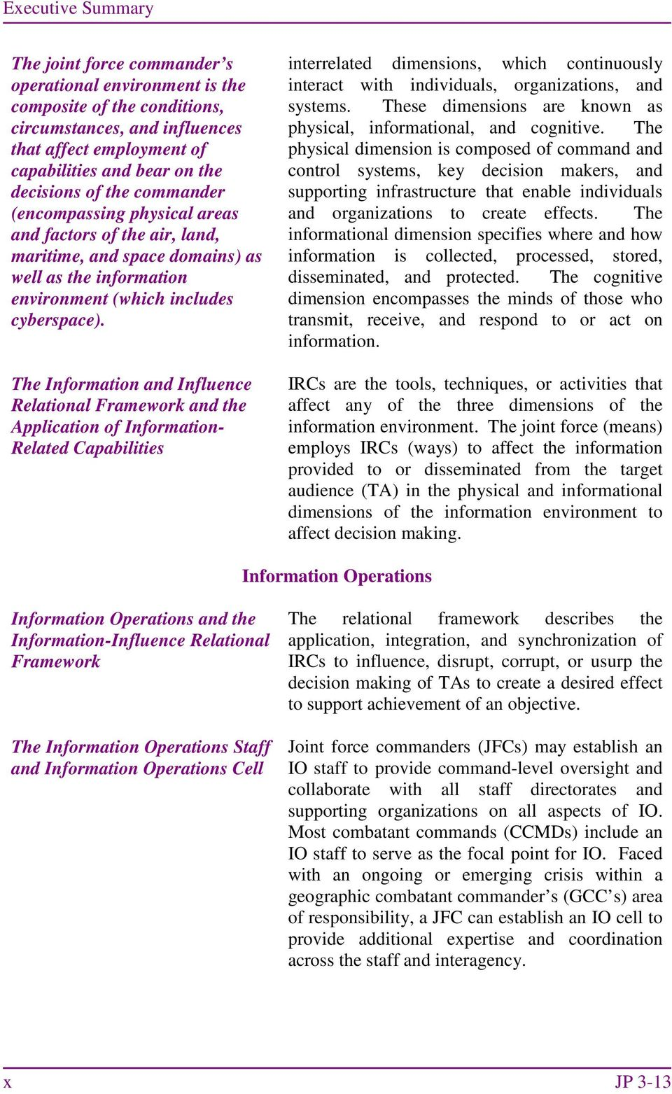 The Information and Influence Relational Framework and the Application of Information- Related Capabilities interrelated dimensions, which continuously interact with individuals, organizations, and