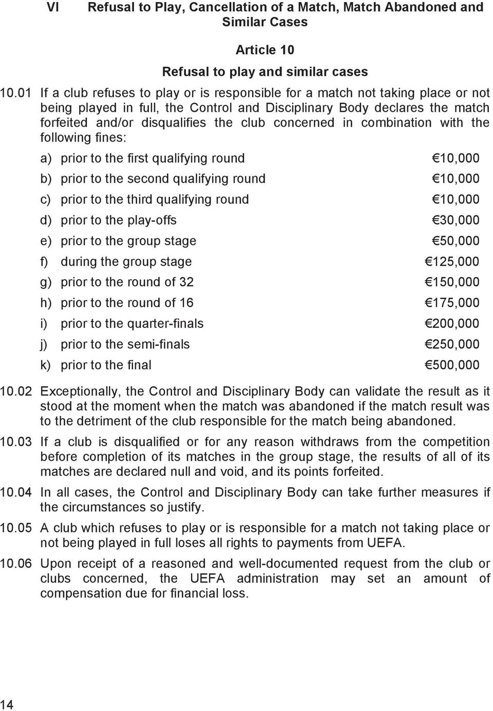 concerned in combination with the following fines: a) prior to the first qualifying round 10,000 b) prior to the second qualifying round 10,000 c) prior to the third qualifying round 10,000 d) prior