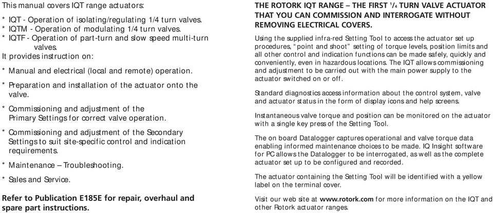iqt range installation and maintenance instructions pdf preparation and installation of the actuator onto the valve commissioning and adjustment of
