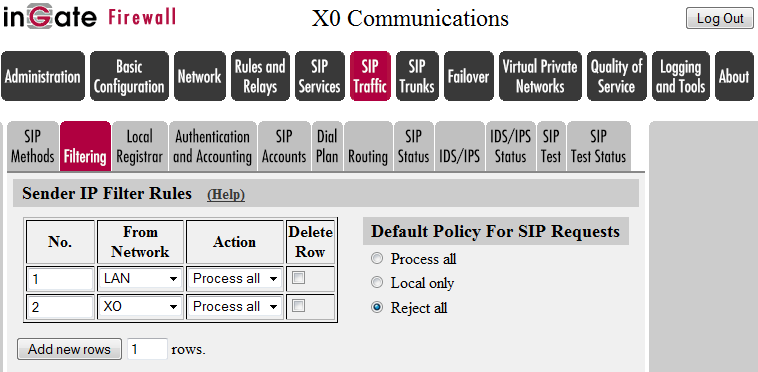 SIP TRAFFIC FILTERING 1. Under Proxy Rules, change the Default Policy for SIP Requests to Reject All.