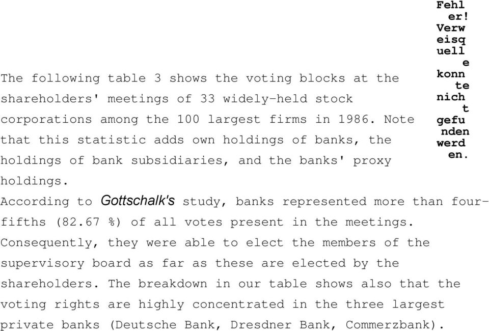 According o Goschalk's sudy, banks rprsnd mor han fourfifhs (82.67 %) of all vos prsn in h mings.