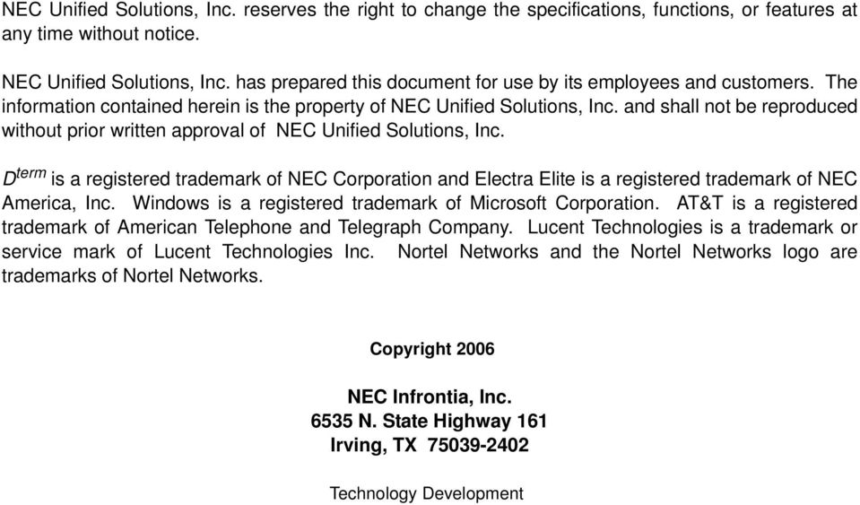 and shall not be reproduced without prior written approval of NEC Unified Solutions, Inc.
