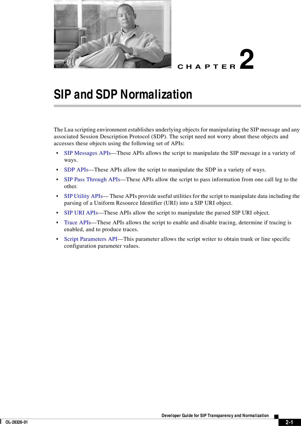 These APIs allow the script to manipulate the SDP in a variety of ways SIP Pass Through APIs These APIs allow the script to pass information from one call leg to the other SIP Utility APIs These APIs