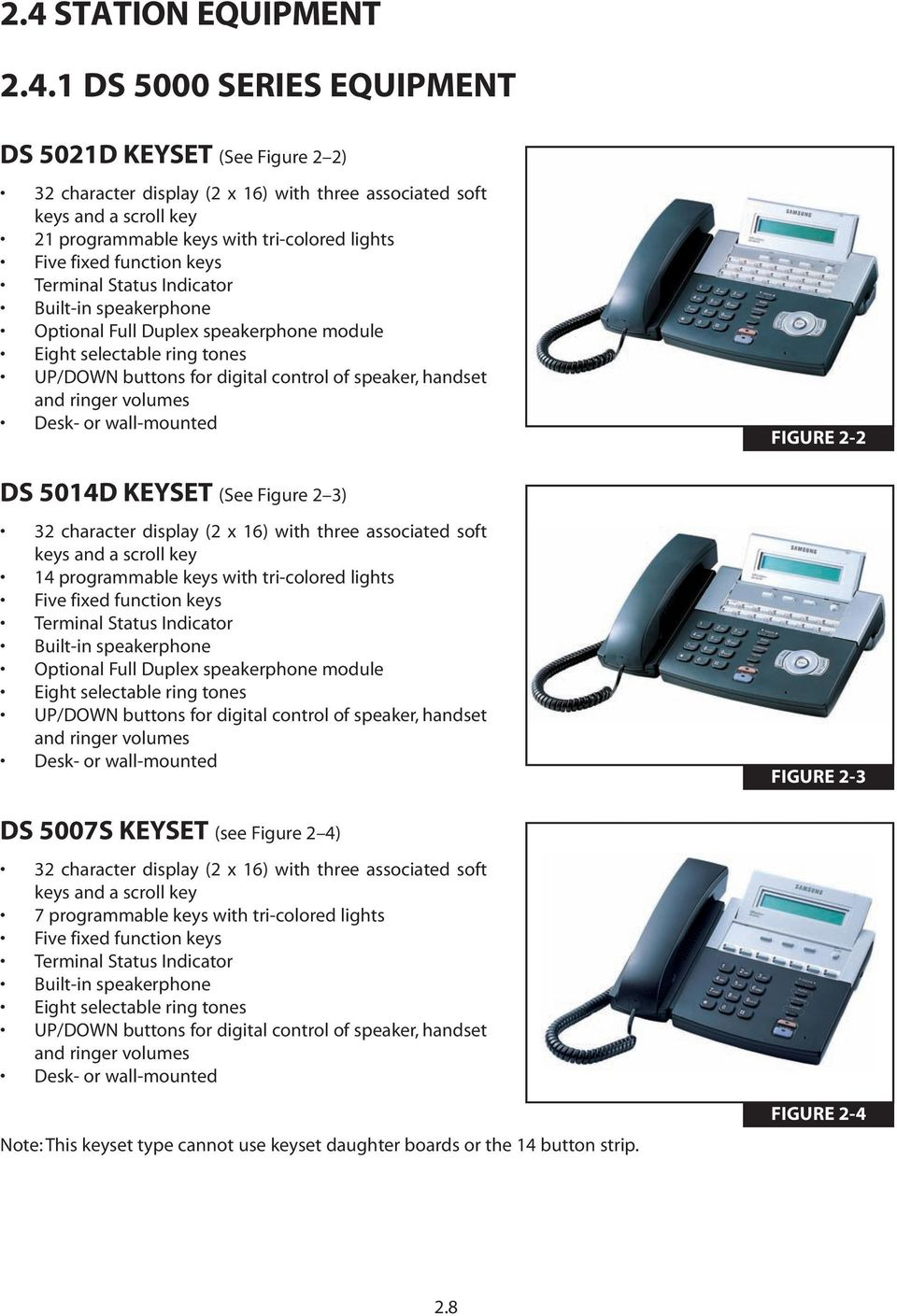 speaker, handset and ringer volumes Desk- or wall-mounted DS 5014D KEYSET (See Figure 2 3) 32 character display (2 x 16) with three associated soft keys and a scroll key 14 programmable keys with