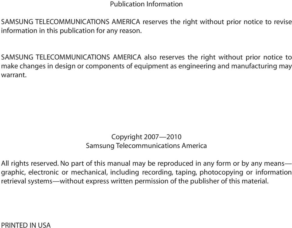 warrant. Copyright 2007 2010 Samsung Telecommunications America All rights reserved.