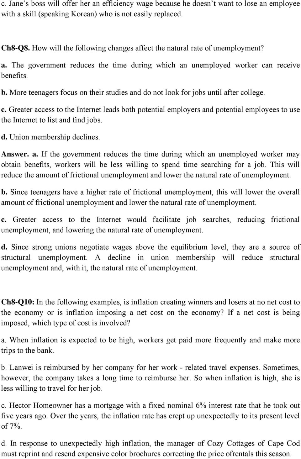 ch q in each of the following situations what type of nefits b more teenagers focus on their studies and do not look for jobs