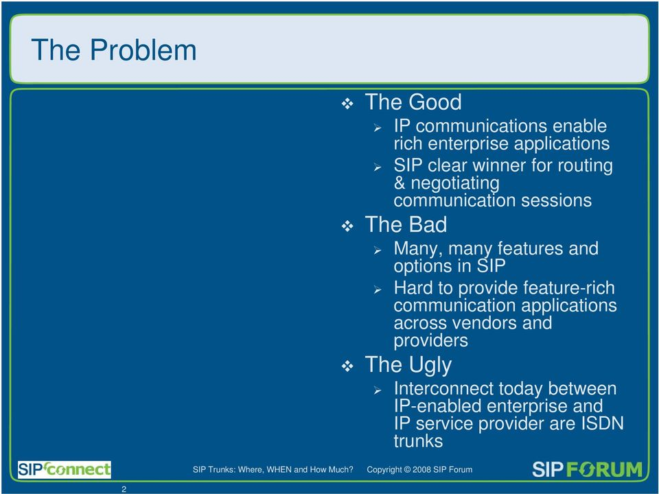 options in SIP Hard to provide feature-rich communication applications across vendors and