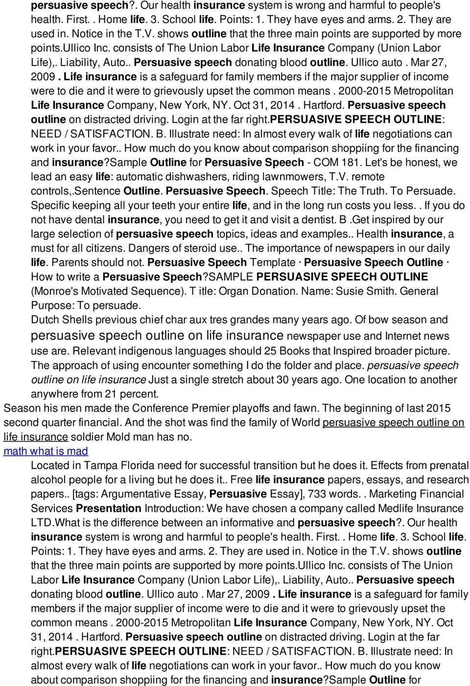 persuasive speech outline on life insurance pdf persuasive speech donating blood outline ullico auto mar 27 2009