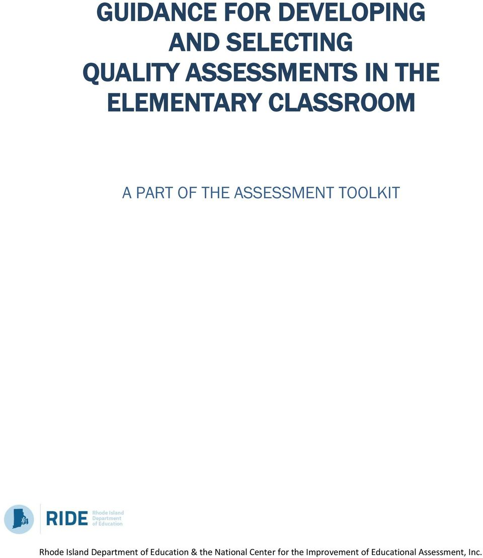 TOOLKIT Rhode Island Department of Education & the