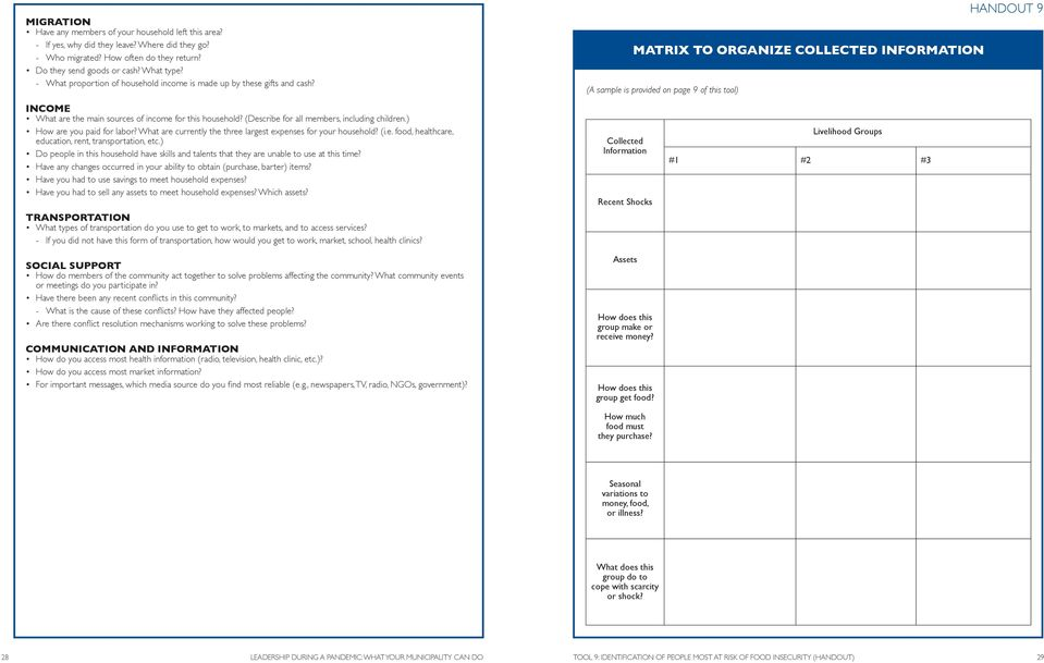 MATRIX TO ORGANIZE COLLECTED INFORMATION (A sample is provided on page 9 of this tool) HANDOUT 9 INCOME What are the main sources of income for this household?