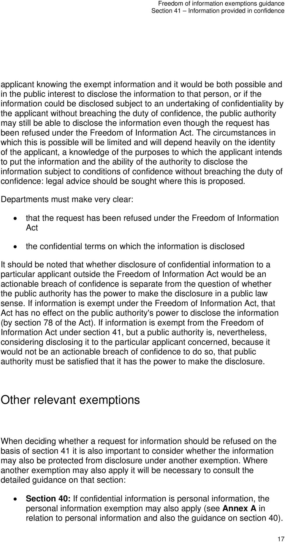 under the Freedom of Information Act.