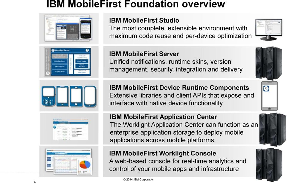 expose and interface with native device functionality IBM MobileFirst Application Center The Worklight Application Center can function as an enterprise application storage to
