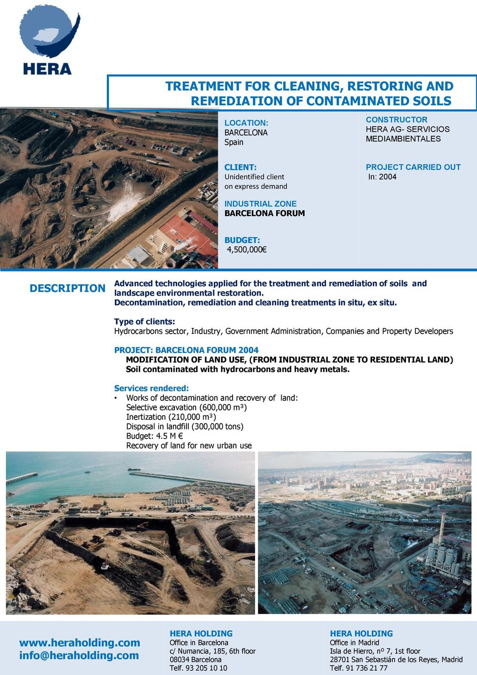 LAND) Soil contaminated with hydrocarbons and heavy metals.