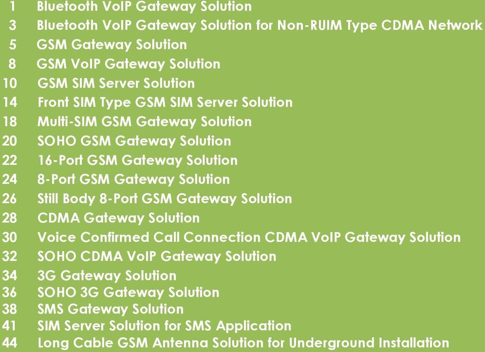 Solution 26 Still Body 8-Port GSM Gateway Solution 28 CDMA Gateway Solution 30 Voice Confirmed Call Connection CDMA VoIP Gateway Solution 32 SOHO CDMA VoIP Gateway Solution