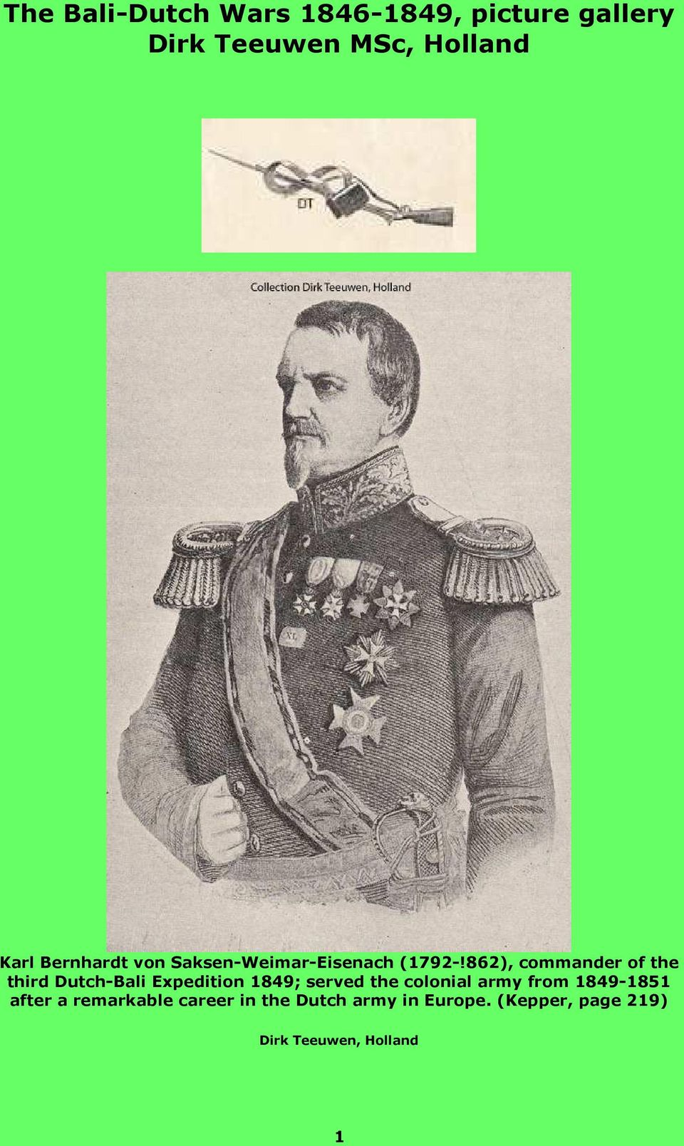 862), commander of the third Dutch-Bali Expedition 1849; served the colonial