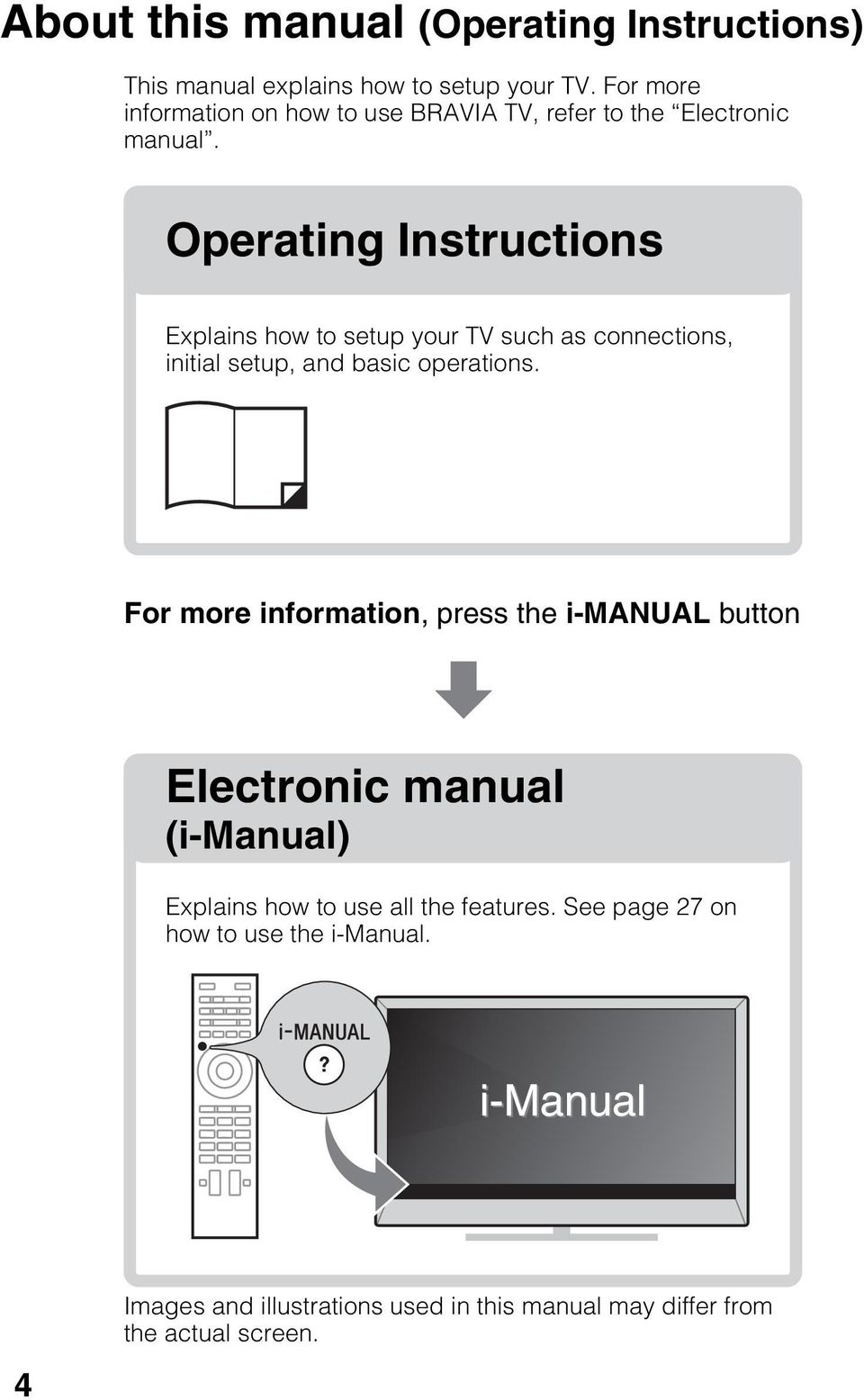Operating Instructions Explains how to setup your TV such as connections, initial setup, and basic operations.