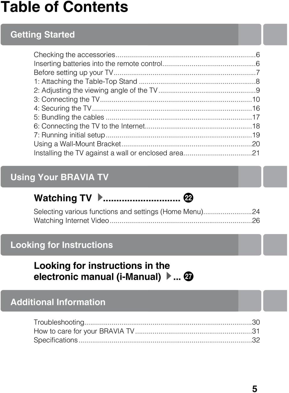 ..19 Using a Wall-Mount Bracket...20 Installing the TV against a wall or enclosed area...21 Using Your BRAVIA TV Watching TV B... ws Selecting various functions and settings (Home Menu).