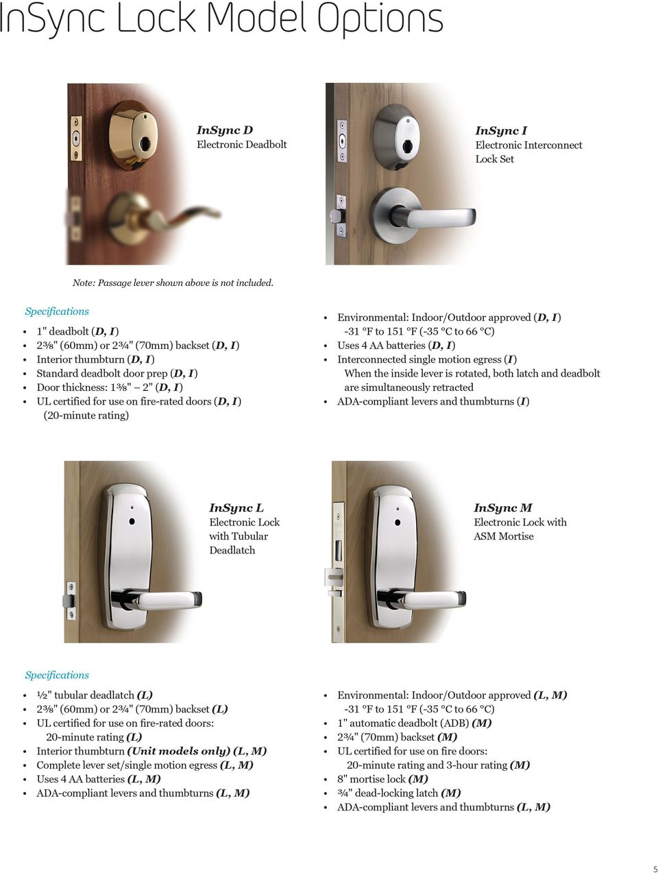 doors (D, I) (20-minute rating) Environmental: Indoor/Outdoor approved (D, I) -31 F to 151 F (-35 C to 66 C) Uses 4 AA batteries (D, I) Interconnected single motion egress (I) When the inside lever