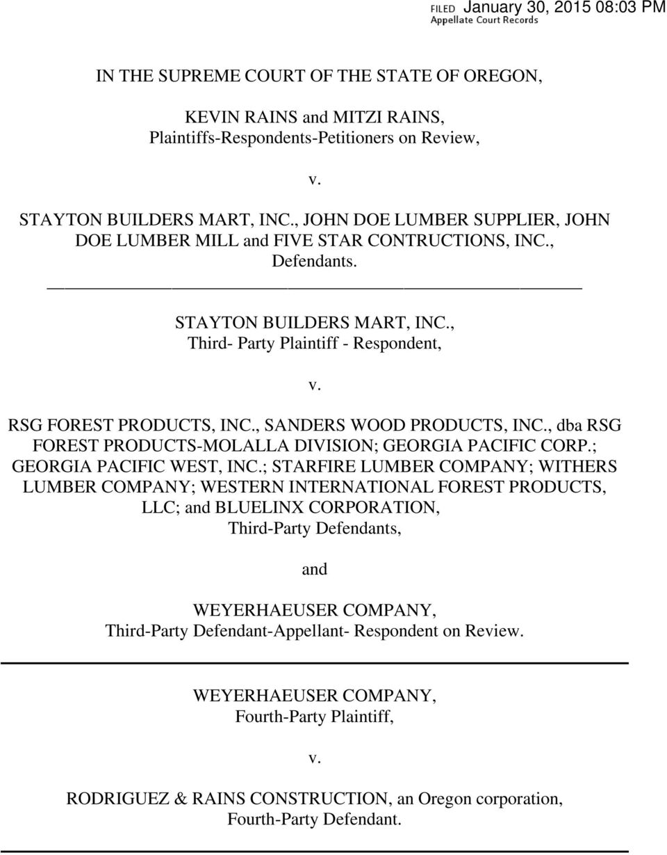 , SANDERS WOOD PRODUCTS, INC., dba RSG FOREST PRODUCTS-MOLALLA DIVISION; GEORGIA PACIFIC CORP.; GEORGIA PACIFIC WEST, INC.