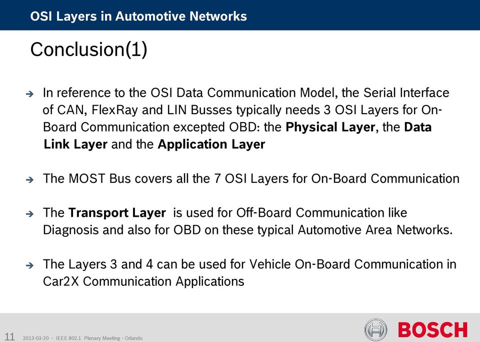 the 7 OSI Layers for On-Board Communication The Transport Layer is used for Off-Board Communication like Diagnosis and also for OBD on