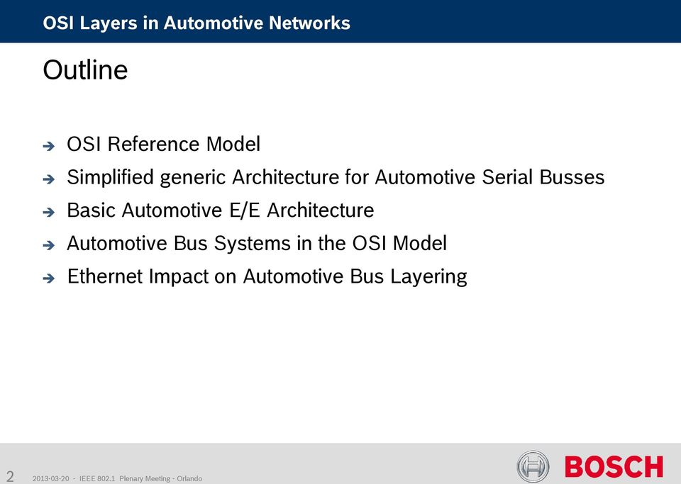 Automotive E/E Architecture Automotive Bus Systems