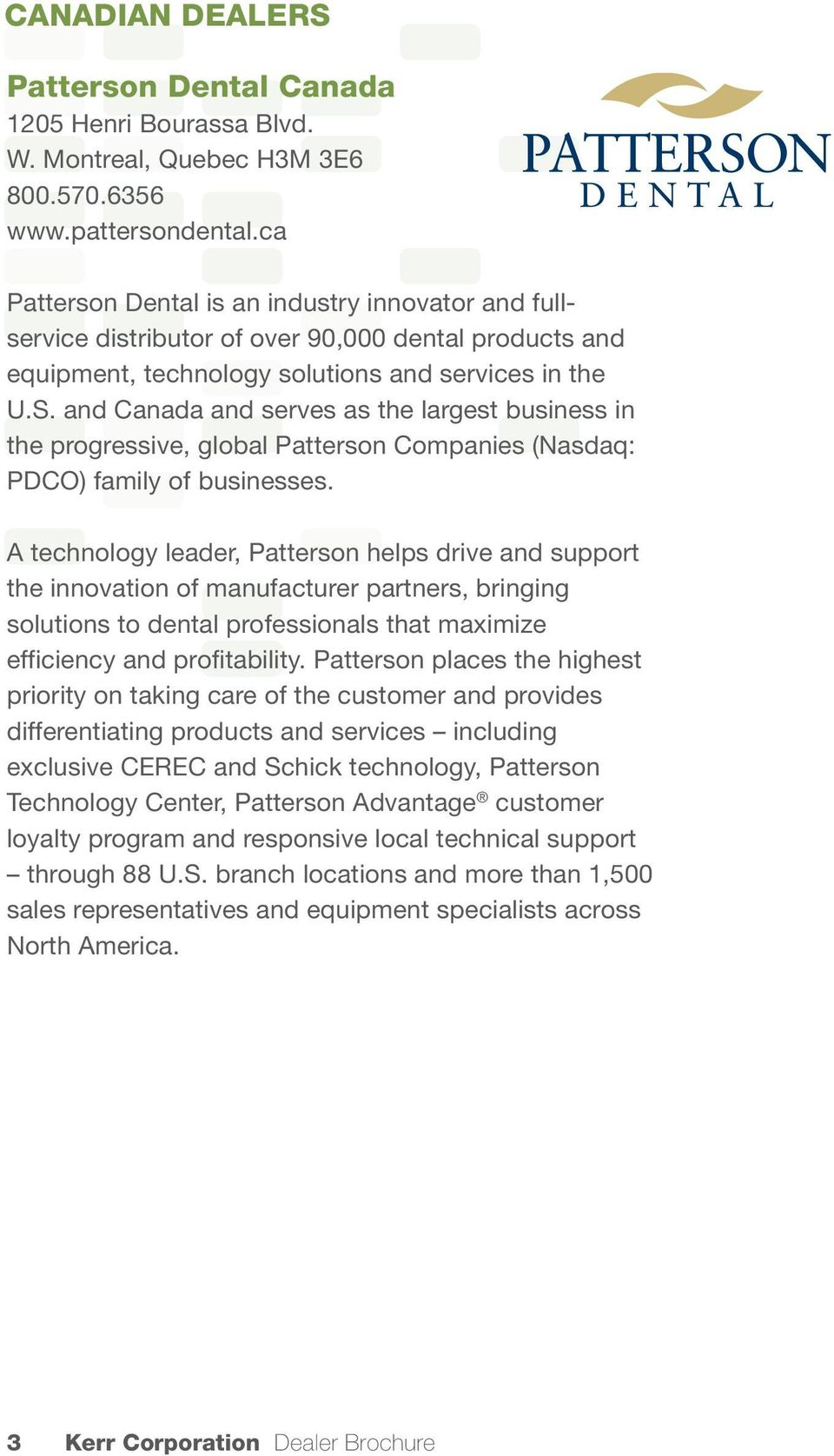 Kerr authorized dealer brochure pdf and canada and serves as the largest business in the progressive global patterson companies fandeluxe Choice Image