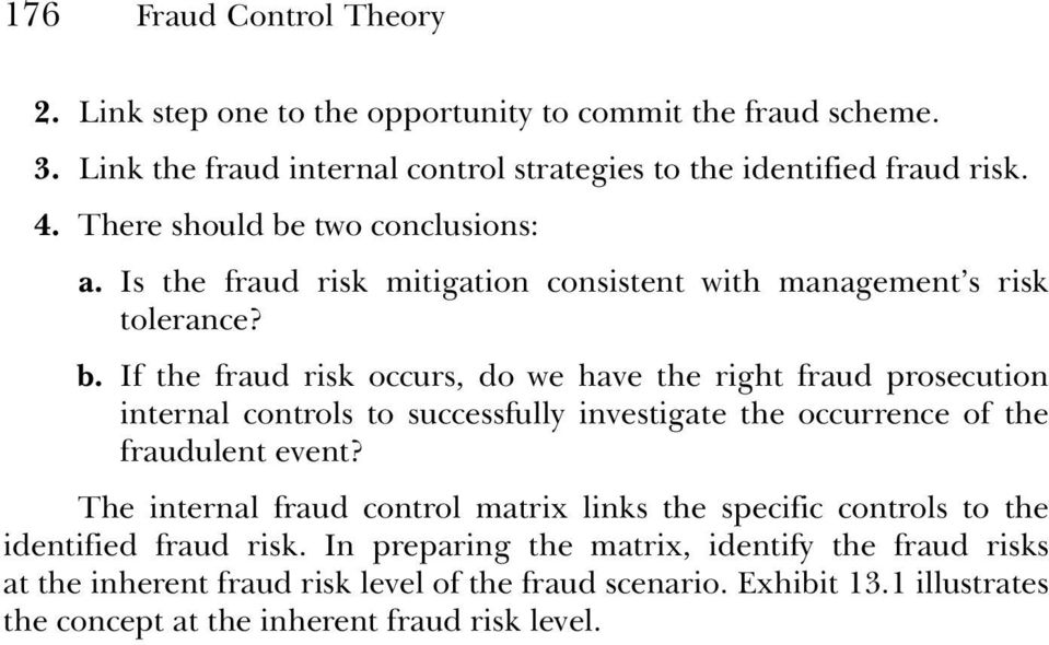 The internal fraud control matrix links the specific controls to the identified fraud risk.