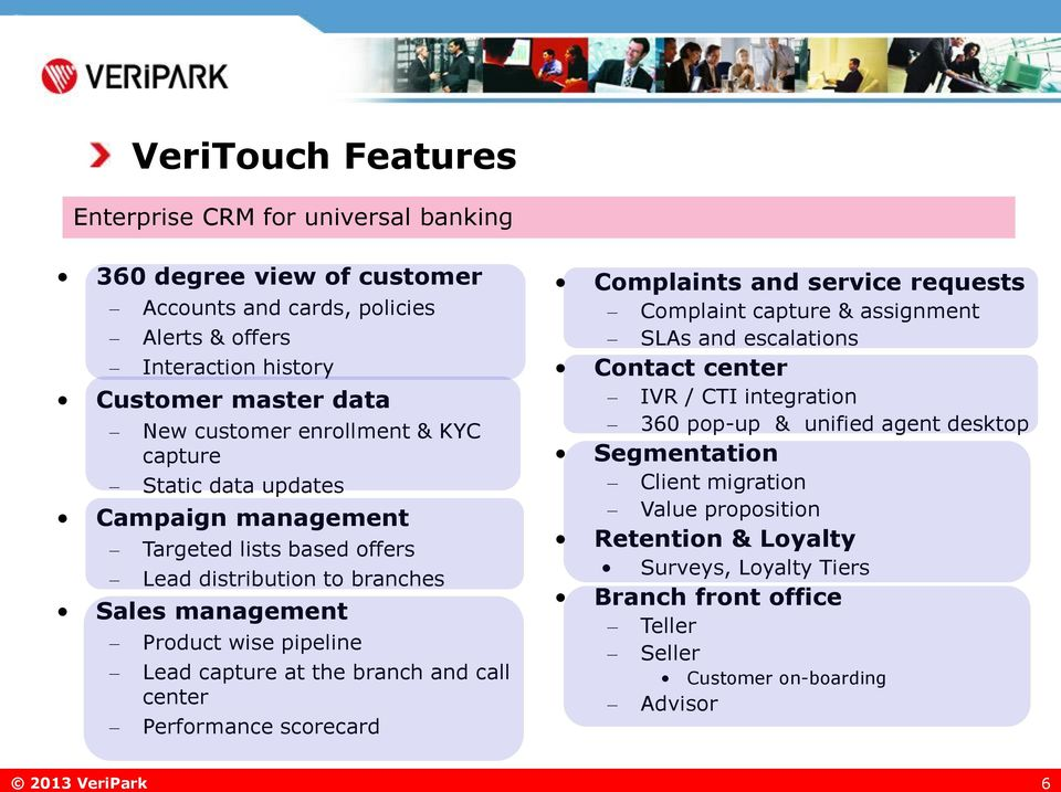 branch and call center Performance scorecard Complaints and service requests Complaint capture & assignment SLAs and escalations Contact center IVR / CTI integration 360 pop-up &