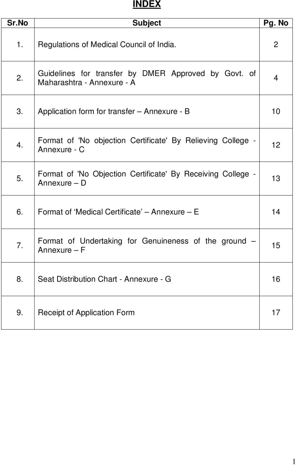 Format of 'No objection Certificate' By Relieving College - Annexure - C 12 5.
