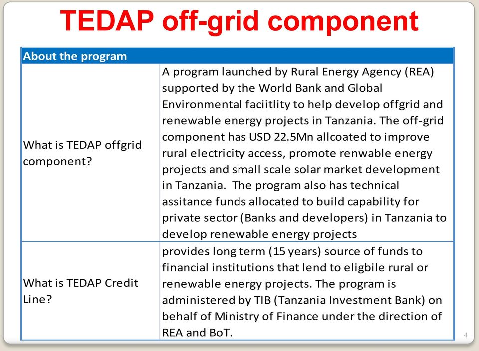 The off-grid component has USD 22.5Mn allcoated to improve rural electricity access, promote renwable energy projects and small scale solar market development in Tanzania.