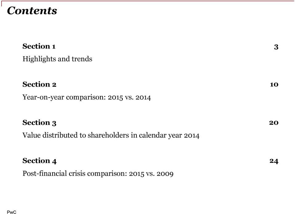 2014 10 Section 3 Value distributed to shareholders in