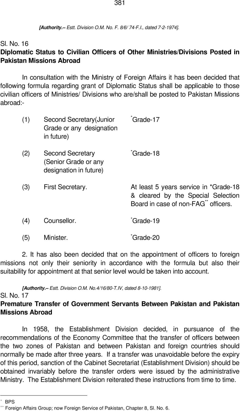 16 Diplomatic Status to Civilian Officers of Other Ministries/Divisions Posted in Pakistan Missions Abroad In consultation with the Ministry of Foreign Affairs it has been decided that following