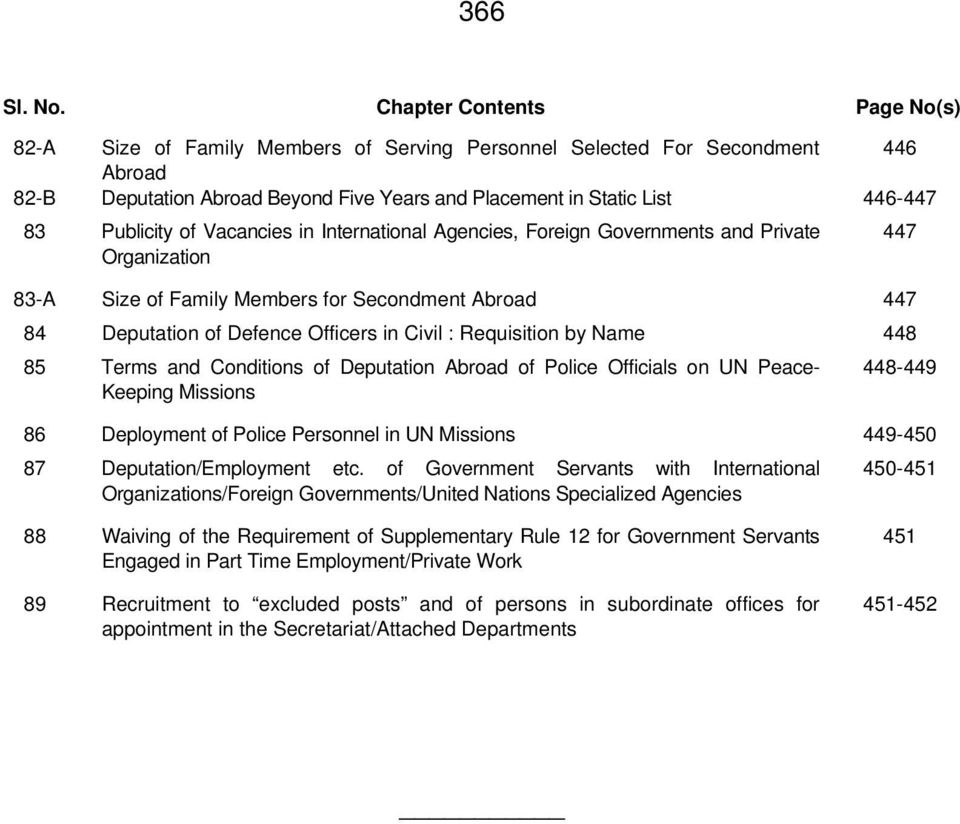 Publicity of Vacancies in International Agencies, Foreign Governments and Private Organization 83-A Size of Family Members for Secondment Abroad 447 84 Deputation of Defence Officers in Civil :