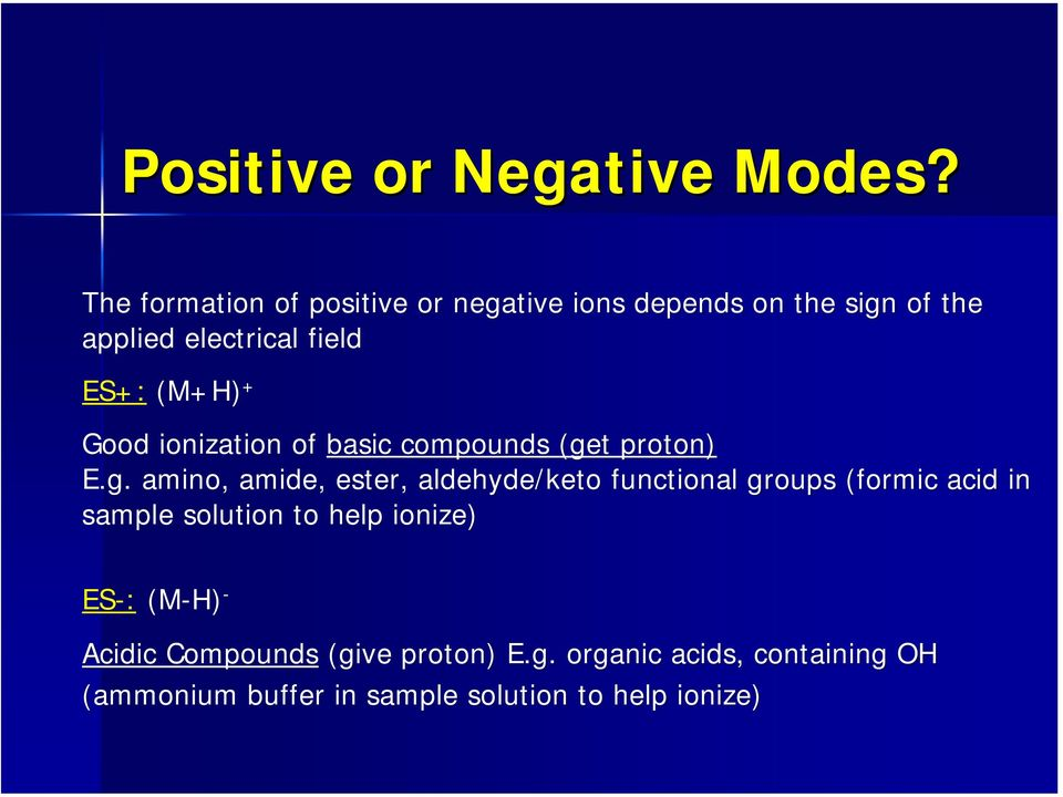 (M+H) + Good ionization of basic compounds (ge