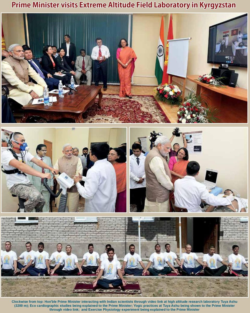 (3200 m); Eco cardiographic studies being explained to the Prime Minister; Yogic practices at Tuya Ashu being