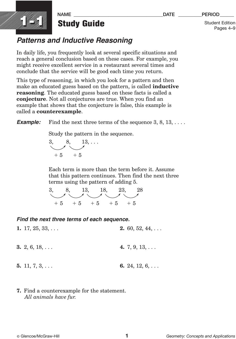 worksheet Inductive Reasoning Worksheet study guide workbook contents include 96 worksheets one for each this type of reasoning in which you look a pattern and then make an