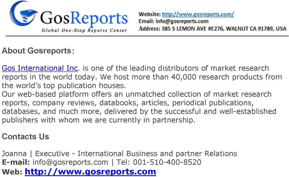 Our web-based platform offers an unmatched collection of market research reports, company reviews, databooks, articles, periodical publications, databases, and